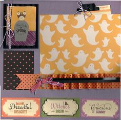2 page Scrapbooking Layout Kit - Too Cute To Spook Halloween on Etsy, $10.00