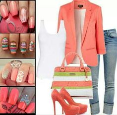 Love the outfit and nail combos!