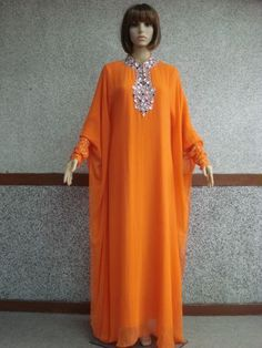 Kaftan Orange with Beaded and Full - Lining