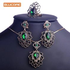 Blucome Emerald Green Rhinestone Flower Jewelry Sets Hollow Vintage Turkish African Pendant Necklace Dangle Earring Jewelry Set Just look, that`s outstanding!Visit our store --->  http://www.jewelryabo.com/product/blucome-emerald-green-rhinestone-flower-jewelry-sets-hollow-vintage-turkish-african-pendant-necklace-dangle-earring-jewelry-set/ #shop #beauty #Woman's fashion #Products #homemade