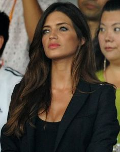 sheer top and fitted blazer - in black (great hair and skin are the best accessories)