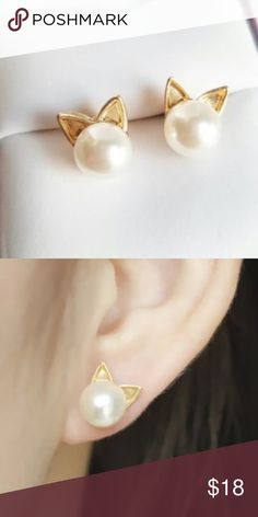 NWT Cat Earrings GOLD Adorable!  New in package. Simulated pearl and gold plated earrings.  Silver also available.  No trades. Boutique Jewelry Earrings