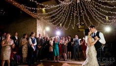 First dance at Kingscote Barn with the fairy light chandelier