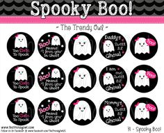 """Spooky """"Boo!"""" Girly Ghost <3 Shop our Digital Bottle Cap Images @ www.thetrendyowl.com!"""