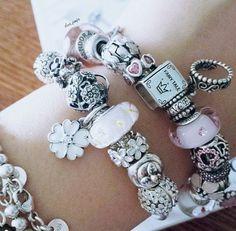Pink and white Pandora bracelet.