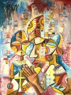 african painting   An abstract oil painting on canvas of Christians at prayer in Africa.