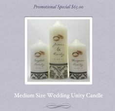 Promotional Special - $65 for 5 piece medium size wedding candle set.