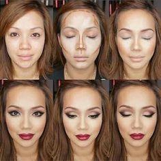 Crazy make-up technique ! - Haare & Make up & Nails - Contouring Fall Makeup, Love Makeup, Makeup Inspo, Makeup Inspiration, Makeup Tips, Makeup Looks, Makeup Tutorials, Makeup Ideas, Sleek Makeup