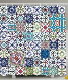 Patchwork Decor Theme Mosaic Ceramic View Moroccan Tile Traditional Bath Decorat #Ambesonne