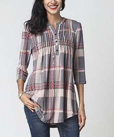 Loving this Mauve Plaid Notch Neck Pin-Tuck Tunic on #zulily! #zulilyfinds