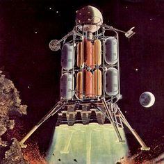 Wernher Von Braun's first lunar lander design This behemoth held 25 astronauts and weighed in at an extraordinary lbs.The vehicle was 160 ft tall, 108 ft in diameter. Science Fiction Art, Science Art, Lunar Lander, Apollo Missions, Found Object Art, Vintage Space, Sci Fi Characters, Robot Art, Space Travel