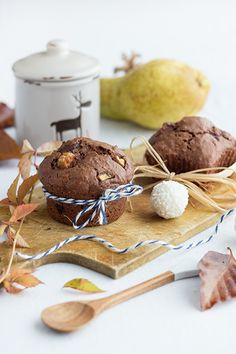 Chocolate Pear Muffins with Raffaello. An easy and delicious muffin for chocoholics.