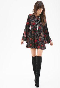 FOREVER 21 Floral Print Skater Dress Black/Wine