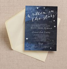 Is there anything more romantic than a starry night? For a wedding with a midnight blue or dark navy color palette, this constellation-themed invitation is a perfect match.