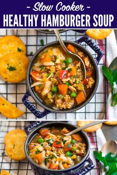Healthy Crock Pot Hamburger Soup with Vegetables. Simple and hearty, this easy recipe is a family favorite! Make it with potatoes, cabbage or even macaroni for an all-in-one meal that even picky eaters adore. #wellplated #slowcooker #crockpot via @wellplated
