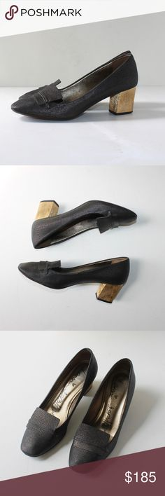 """Lanvin Textured Block Heel Loafer Pump Gold Lanvin steps up this refined loafer style with a modern chunky heel and luxe, textured calfskin. Excellent condition. Very little wear on the outer sole. Size 39 // Fits like a 38.5  Textured metallic calfskin. Square toe with loafer detail. Metallic leather lining and padded insole. Leather outsole. 2 1/4"""" golden block heel. Made in Italy. Lanvin Shoes Heels"""