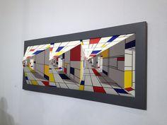 2005 All out Mondrian by Patrick Hughes at Flowers Gallery ©BC… Piet Mondrian, Mondrian Kunst, Bauhaus, Perspective Art, Dutch Painters, Illusion Art, Art Plastique, Geometric Art, Optical Illusions