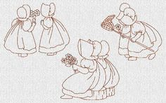 SunBonnet Sues Best Friends Machine Embroidered Quilt Blocks Set of 10 Redwork Embroidery Designs, Learn Embroidery, Hand Embroidery Patterns, Embroidery Applique, Cross Stitch Embroidery, Quilt Patterns, Beginner Embroidery, Sunbonnet Sue, Embroidered Quilts