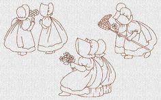 sunbonnet sue embroidery patterns | Sunbonnet Sue Best friends Redwork Machine by embroiderygirl