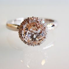 White Topaz and Diamonds Engagement ring 14k white gold - Made to Order