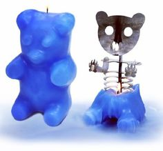 These gummi bear candles reveal a skeleton when you light them up