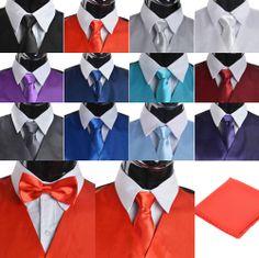 2014 New Men's Luxury Suit Tuxedo Dress Vest Necktie Bow Tie Handkerchief Set