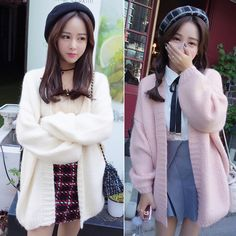 """Color:white.pink. Size:free size. Length:76cm/29.64"""". Bust:118cm/46.02"""". Sleeve length:48cm/18.92"""". Fabric material:acrylic fibers. Tips: *Please double check above size and consider your measurements"""