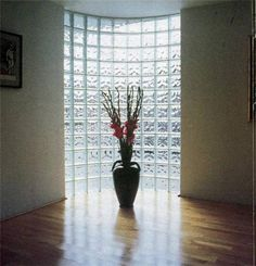 #Glass block wall lets light shine through.