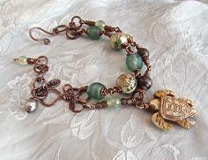Sea Turtle Handmade Copper Bracelet  Beach Inspired Jewelry Malibu Inspired Jewelry Amulet Bracelet