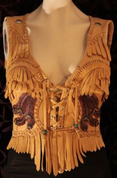 Deluxe Deer Skin Leather Ladies Biker Vest Halter Top Vintage WOW | eBay