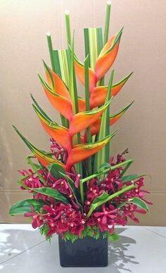 Flowers Arrangements Modern Orchids New Ideas Tropical Flowers, Tropical Flower Arrangements, Church Flower Arrangements, Beautiful Flower Arrangements, Exotic Flowers, Beautiful Flowers, Cactus Flower, Purple Flowers, Altar Flowers
