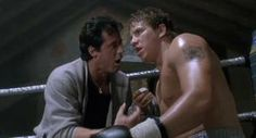Rocky V (1990) | Rocky Balboa (Sylvester Stallone) coaching Tommy Gunn (Tommy Morrison) at a boxing fight. GOOOO TOMMY!!