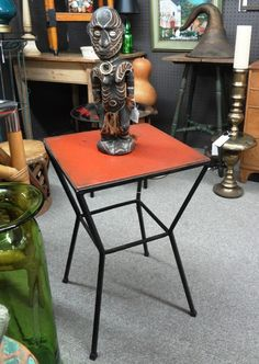 Vintage 1950's metal side table with red wood top.