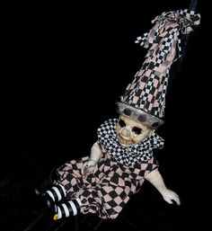 """Clown Horror Prop Creepy Talking Altered Art Doll Dark Circus Freak Gothic Dead Scary Odd Weird Exclusively from Lorcheenas By L. CerritoClarice the Clown""""  Created in the studios of Lorcheenas by salvage Artist L. Cerrito. This was a discarded and forgotten doll that has been re-imagined into a one of a kind, altered art prop doll"""
