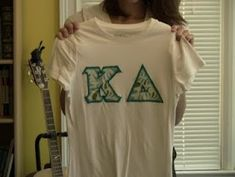 Make your own sorority letter shirts! Tutorial! @Kristen - Storefront Life Mills! Only Kappa Delta Pi:)