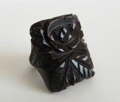 Rare Vintage Carved Black Floral Rose Bakelite Ring