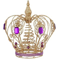 Gold and purple crown tree topper create a christmas scene that's fit for a princess with this striking alternative to traditional tree toppers.  Shaped just l…