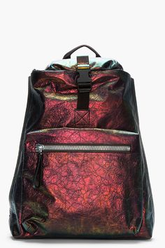 Lanvin Purple Iridescent Crinkled Backpack And Wallet