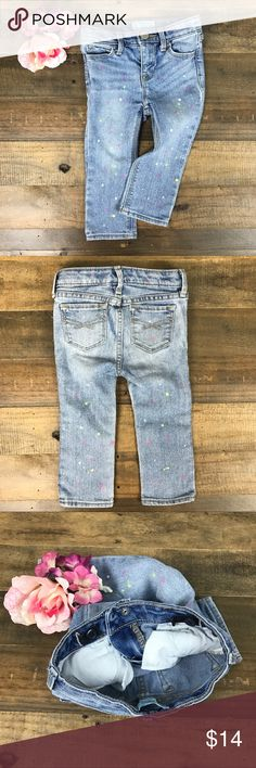 🎉Reduced🎉 Baby Gap Paint Splatter Jeans, 18-24M COLORS: light Denim wash, white, pink, & lime green splatters  LENGTH: (from top to bottom) 16.5inches (from  INSEAM: about 10.5inches  CONDITION: EUC MATERIAL: 76% cotton, 23% polyester, 1% spandex DETAILS: elastic waist adjustments inside (shown in 3rd picture), cosmetic front button. Snap and zipper front closure.  Happy to answer any questions. 🛍 Go for it, make that offer!? ✌🏼🎀 GAP Bottoms Jeans