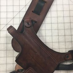 Dark Brown Leather Chest Holster with leather shoulder Pad