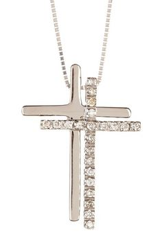 14K White Gold Diamond Double Cross Necklace - 0.11 ctw by Precious Metals: Silver & Gold Jewelry on @HauteLook