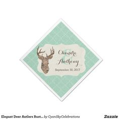 Elegant Deer Antlers Rustic Country Wedding Standard Cocktail Napkin #deer #antlers #rustic #country #wedding #turquoise #woodland #woodsy #natural #nature