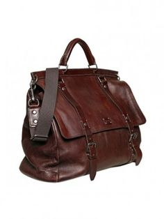 Washed Leather Large Shoulder Bag