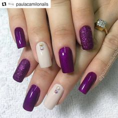New Nails Design Elegant Purple Ideas Purple Nail Designs, Toe Nail Designs, Nails Design, Fabulous Nails, Gorgeous Nails, Trendy Nails, Cute Nails, Hair And Nails, My Nails
