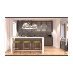 🚨 You'll want to save this post! Probably this one here is the dream kitchen where preparing coffee or having breakfast is all you want🍳  Elegant lines mark the entire furniture from the barstools to the lighting fixtures and can be found even in the cupboard handles. The beautiful kitchen views on a sunny weekend are simply a relish!✨ Kitchen Views, Cupboard Handles, Beautiful Kitchens, Design Projects, Bar Stools, Entryway, Interior Design, Coffee, Lighting