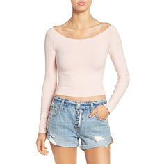 Women's Soprano Boatneck Crop Tee ($25) ❤ liked on Polyvore featuring tops, t-shirts, blush, pink top, crop top, pink crop top, retro t shirts and crop t shirt