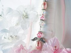 Pink Wedding Bouquet Charm Swarovski Crystal and Pearl Angel Wedding Bouquet Charms, Wedding Bouquets, Charms Swarovski, Swarovski Crystals, Clear Crystal, Drop Earrings, Pearls, Bridal, Angel