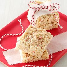 Peppermint Cereal Squares Recipe -Our 15 grandchildren expect me to make several batches of these minty treats each Christmas. The quick-and-easy preparation is appreciated during a hectic time of year. —Carole Coe, South Sutton, New Hampshire Christmas Recipes For Kids, Holiday Recipes, Christmas Cooking, Cereal Recipes, Dessert Recipes, Desserts, Dessert Healthy, Holiday Treats, Christmas Treats