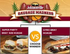 Johnsonville Chicken Sausage Southwest Surprise vs. Gyro Brat Hoagie - Check out the bracket on Facebook! --> http://on.fb.me/sausagemadness