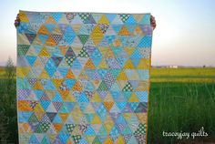 Items similar to Modern Gender Neutral Patchwork triangle baby quilt - Yellow, Aqua, Gray on Etsy Neutral Baby Quilt, Gender Neutral Baby, Yellow Quilts, Patch Quilt, Geometric Designs, Quilt Top, Design Process, Quilting Designs, Baby Quilts